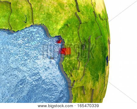 Equatorial Guinea In Red On Earth