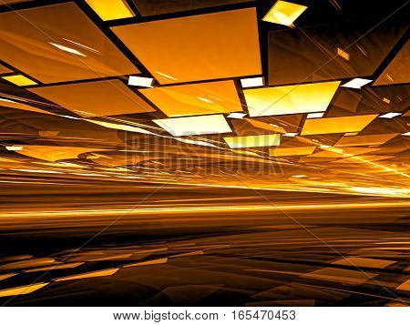 Fractal background - chaos tiles with perspective and light effects. Abstract golden computer-generated 3D illustration for covers, posters, web design.