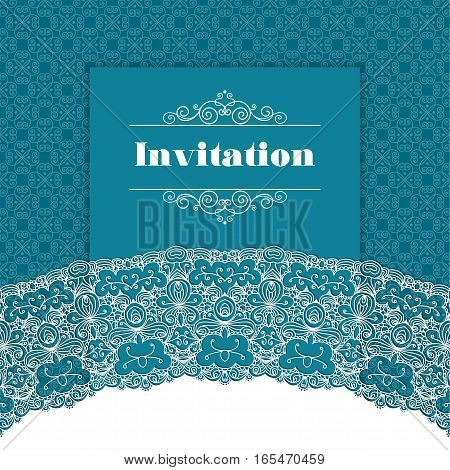 Vintage background ornamental lace border. Greeting card or invitation template. Vector illustration