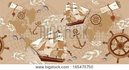 Old map seamless pattern. Vintage compass sailboat anchor ancient map of the world seamless background. adventure stories concept