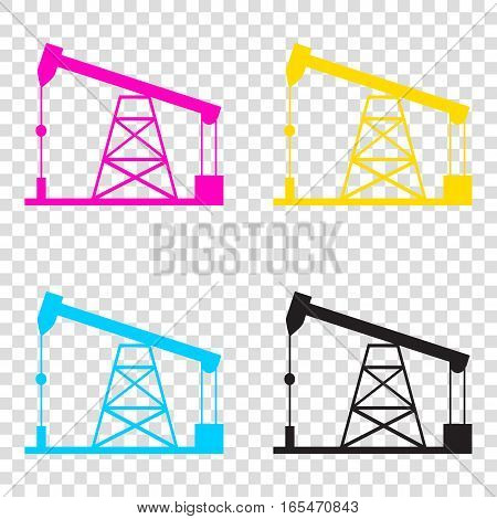 Oil Drilling Rig Sign. Cmyk Icons On Transparent Background. Cya