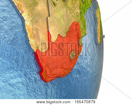 South Africa In Red On Earth