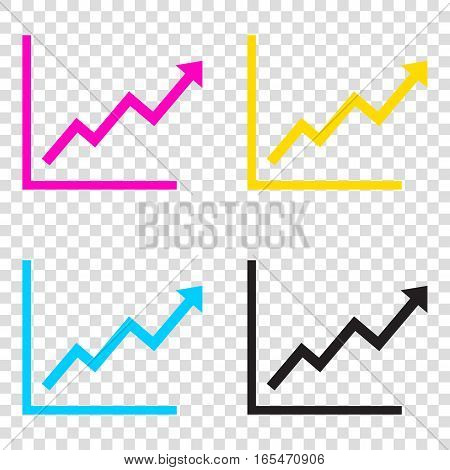 Growing Bars Graphic Sign. Cmyk Icons On Transparent Background.