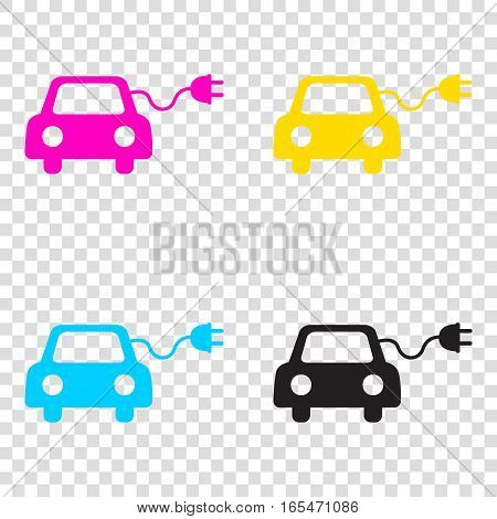 Eco Electric Car Sign. Cmyk Icons On Transparent Background. Cya
