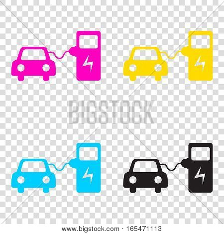 Electric Car Battery Charging Sign. Cmyk Icons On Transparent Ba