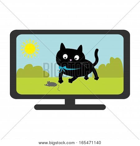 TV set show. Black cat with mouse. Funny animal. Cute cartoon character. Sun tree sky Isolated. White background. Vector illustration