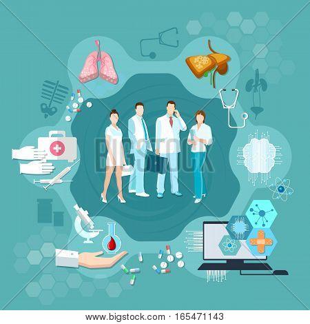 Medicine infographics hospital medicine staff health service human organs operating transplantation