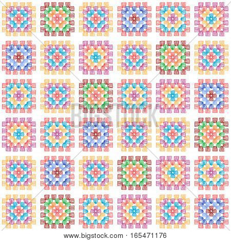 Colorful granny square crochet blanket seamless pattern on white, vector background