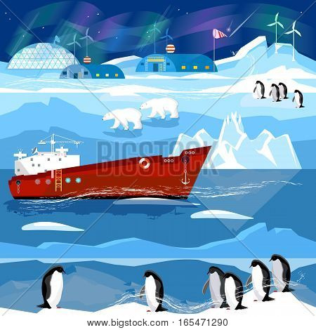 Travel to Antarctic and Arctic. Ice breaker penguins polar lights. Animals of Antarctica. Scientific base on North Pole