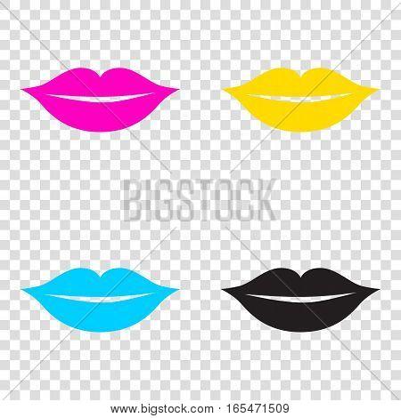 Lips Sign Illustration. Cmyk Icons On Transparent Background. Cy