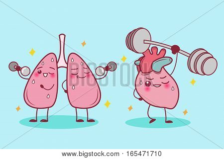 cute cartoon heart and lung do sport