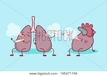 cute cartoon lung and heart enjoy smoke