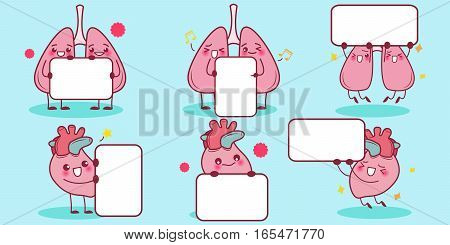 cute cartoon heart and lung hold billboard