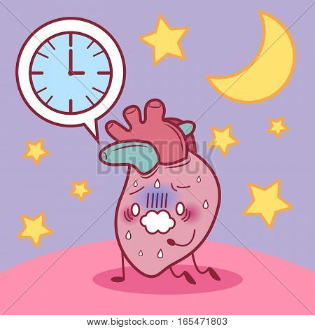 cartoon heart sick and feel tired because overwork