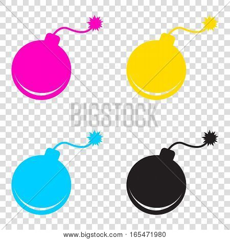 Bomb Sign Illustration. Cmyk Icons On Transparent Background. Cy