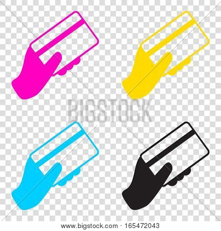 Hand Holding A Credit Card. Cmyk Icons On Transparent Background