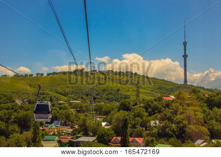 Koktobe Hill And And Cabin Of Cable Car, Almaty, Kazakhstan