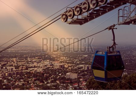 Retro Style Almaty City View From Koktobe Hill And Cabin Of Cable Car, Kazakhstan