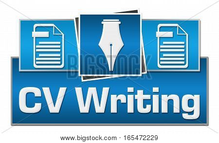 CV writing concept image with text and related symbols.