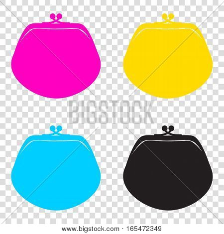 Purse Sign Illustration. Cmyk Icons On Transparent Background. C