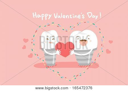 cute cartoon dental implants with valentines day