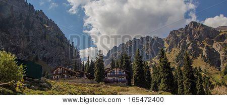 House At Tuyk Su Gorge Near Shymbulak Ski Resort. Tien Shan Mountains At Summer Time, Almaty, Kazakh