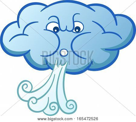 Cloud Blowing Wind Cartoon Isolated on White