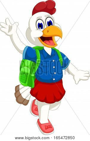 funny hen cartoon going to school for you design