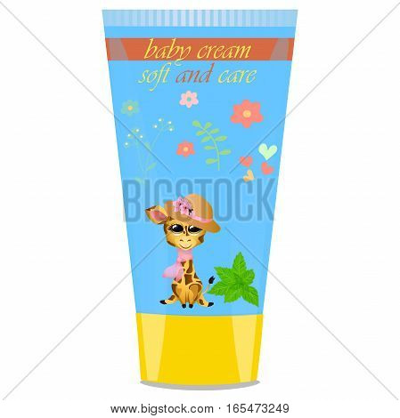High quality original trendy vector Baby cream tube with kids design and giraffe, mint illustration