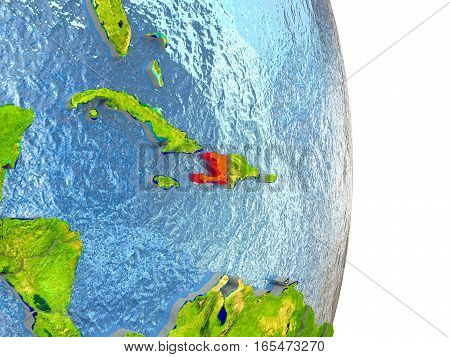 Haiti In Red On Earth