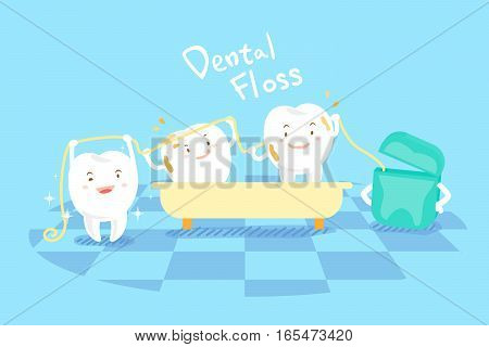 cute cartoon tooth take bath with dental floss