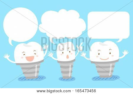 cute cartoon tooth implant with speech bubble