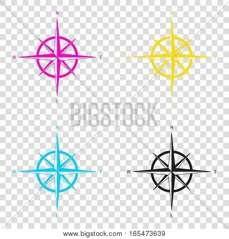 Wind Rose Sign. Cmyk Icons On Transparent Background. Cyan, Mage