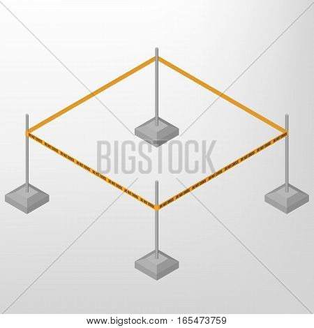 Warning tape fencing with text do not cross isolated on white background. Design elements for reconstruction. Flat 3D isometric style vector illustration.
