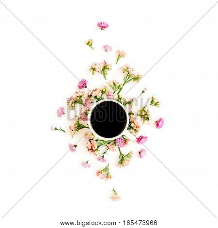 Coffee cup and floral composition with wildflowers. Flat lay top view