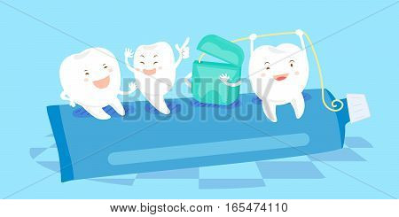 cartoon tooth and floss sit on the paste