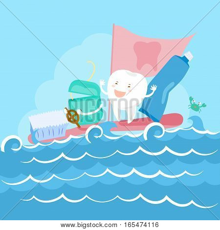 cartoon tooth and floss on the sea