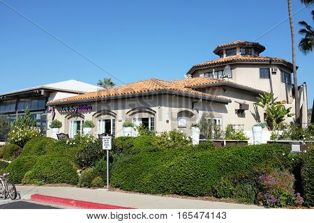 NEWPORT BEACH CALIFORNIA - JANUARY 16 2017: Back Bay Bistro. Located in Newport Dunes Resort the restaurant has Bay views seafood menu cocktails and live music.