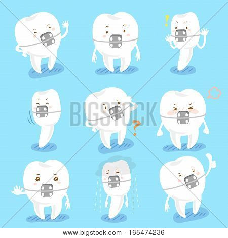 cartoon tooth wear brace express all kinds of emotions