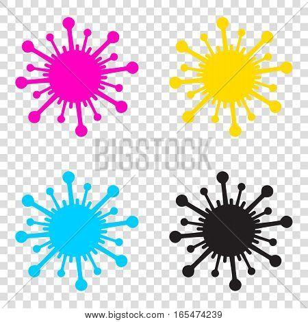 Virus Sign Illustration. Cmyk Icons On Transparent Background. C