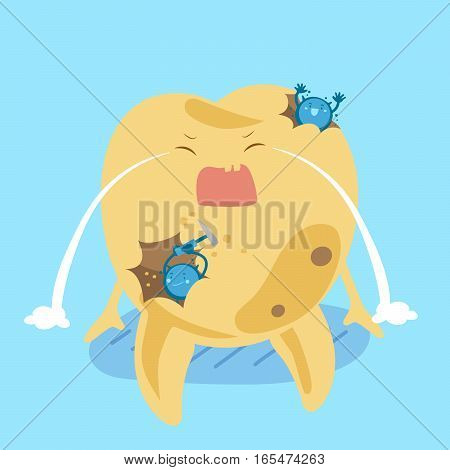 cartoon tooth decay feel bad with bacterium