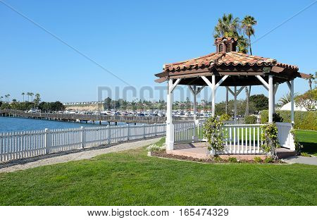 NEWPORT BEACH CALIFORNIA - JANUARY 16 2017: Newport Dunes Gazebo. The Dunes are a 110 acre resort and RV Park at the entrance to the Back Bay Nature Reserve.