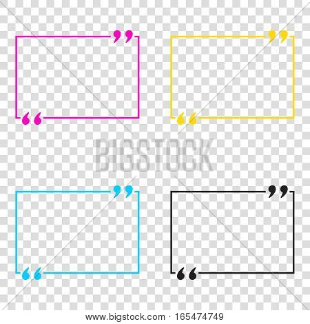 Text Quote Sign. Cmyk Icons On Transparent Background. Cyan, Mag