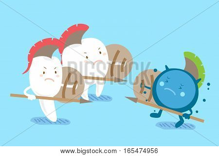 two cute cartoon tooth fight to the bacterium