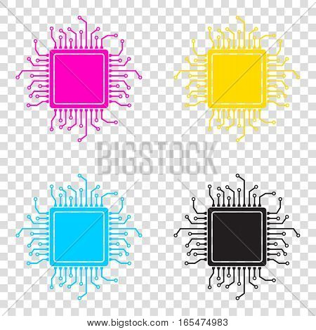 Cpu Microprocessor Illustration. Cmyk Icons On Transparent Backg