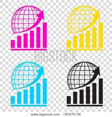 Growing Graph With Earth. Cmyk Icons On Transparent Background.