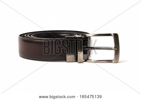 stylish men's brown leather belt with nickel buckle on a white background.