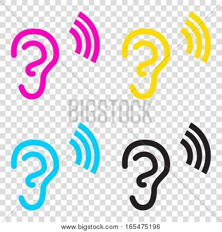Human Ear Sign. Cmyk Icons On Transparent Background. Cyan, Mage