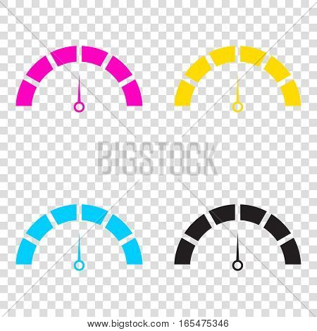Speedometer Sign Illustration. Cmyk Icons On Transparent Backgro