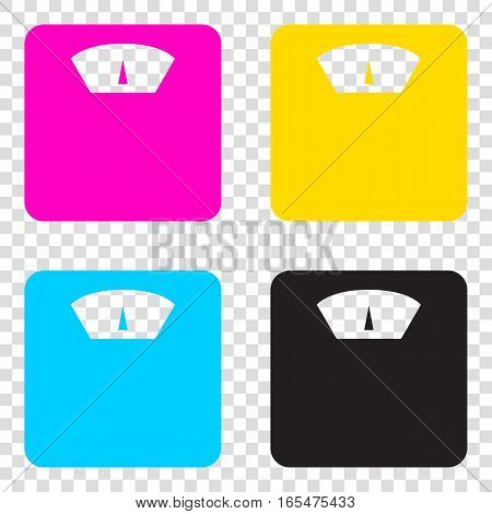Bathroom Scale Sign. Cmyk Icons On Transparent Background. Cyan,